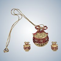 Vintage Christmas Ornament Necklace Pin and Clip Earring Set