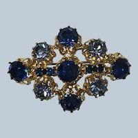 Vintage Austria Blue Rhinestone Pin
