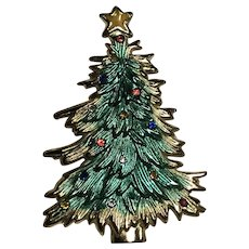 Vintage Christmas Tree Rhinestone Pin