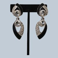 Vintage Bijoux New York Designs' Silver/Black & Rhinestone Clip-on Ny Couture Earrings