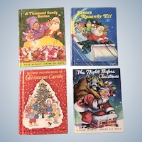 Vintage Rand McNally Junior Elf Picture Christmas Children Books 1950 The Night Before Christmas and 1977 Santas Runaway Elf