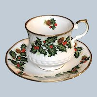 Vintage Queens England Rosina China Yuletide Christmas Cup and Saucer Set