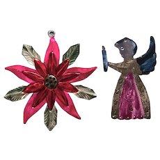 Vintage Mexican Handmade Tin Christmas Angel and Poinsettias Ornaments