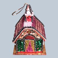 Vintage Sequin Church Christmas Candy Container Ornament