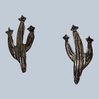 Vintage Sterling Western Cactus Pierced Earrings