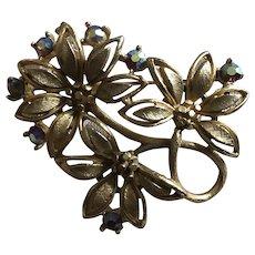 Vintage Lisner Aurora Borealis Flower Pin Book Piece