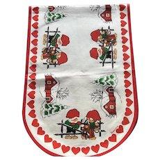 Vintage New With Tags Designer Sanura Stildukar Sweden Gnome Christmas Runner