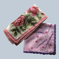Designers Jeou D' Orly Paris and Hand Painted Colette Floral Hankie Set