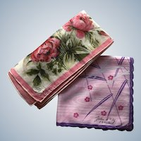Designers Jeou D' Orly Paris and Hand Painted Colette Floral Hankie Set