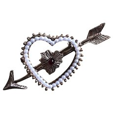 Vintage Figural Valentine Heart Pin With Arrow
