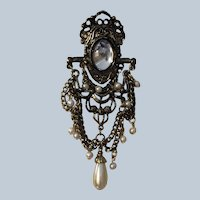 Vintage Large Heraldic Style Dangle Pin With Jelly Belly