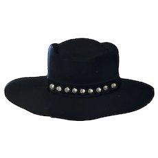 Vintage Black Metal Figural Cowgirl Hat With Rhinestones