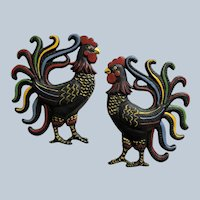 Vintage Cast Iron Folk Art Rooster Plaque Set