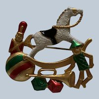 Vintage AJC Christmas Rocking Horse and Toys Pin