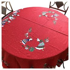 Vintage Sunweave Christmas Goose Oval Cotton Tablecloth