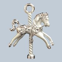 Signed AJC Carousel Horse Silvertone Figural Horse Pin