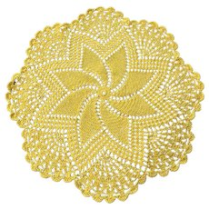 Vintage Lemon Yellow Handmade Crochet Doily