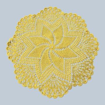 Vintage Lemon Yellow Handmade Crochet Doily