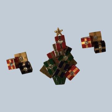 1970's Avon Christmas Tree Pin and Pierced Earrings Set