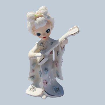 Quality Ucagco Japan Porcelain Oriental Girl With Spaghetti Art Hair Kimono and Mandolin Figurine
