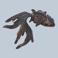 Vintage Large Goldfish Carp Figural Dimensional Pin