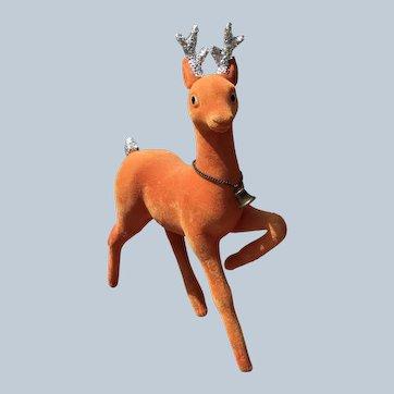 Vintage Japan Orange Flocked Plastic Christmas Reindeer With Metal Bell