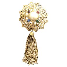 Vintage Gold Tone Filigree Rhinestone Pin With Tassels