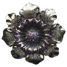 Vintage Large Gold Tone Glittery Flower Pin With Lavender and Berry Pink Rhinestones