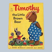 1969 Timothy The Little Brown Bear Rand McNally Junior Elf Children Book