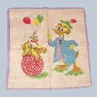 Vintage Walt Disney Professor Ludwig Von Drake Duck Handkerchief