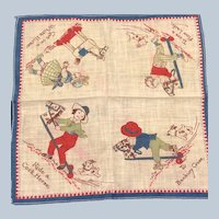 Vintage Early 1900's Grace Drayton Wee Kiddies Banbury Cross Nursery Rhyme Hankie