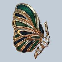 Vintage Krementz Gold Tone Enamel Rhinestone Figural Butterfly Pin