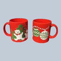 Vintage Waechtersbach West Germany Christmas Bear and Ornament Mugs