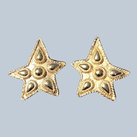 Rare Vintage Sonia RyKiel Paris Signed Gold Tone Star Clip Earrings