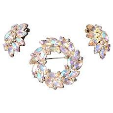 Beautiful Vintage Aurora Borealis Rainbow Rhinestone Wreath Pin and Clip Earring Set