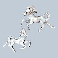 Vintage Grey Metal Enamel Horse Scatter Pin Set