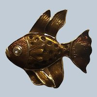 vintage Quality Enamel Copper Color Fish Pin With Rhinestone Eye