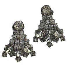 Vintage Clear Rhinestone Christmas Tree Clip-On Earrings