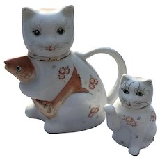 Vintage 1960s-70's Porcelain Cat Teapot with Koi Fish and Matching Creamer Set