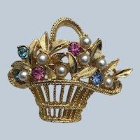 Vintage Beautiful Gold Tone Gerry's Easter Basket Rhinestone Pin