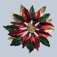 Vintage Signed Gerrys Poinsettia Christmas Pin