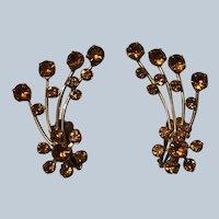 Vintage Prong Set Amber Rhinestone Spray Clip On Earrings