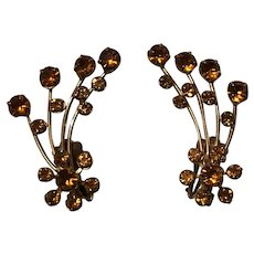 Vintage Prong Set Amber Rhinestone Spray Clip On Earrings