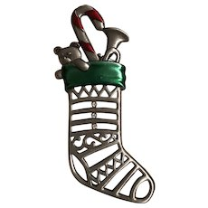 Vintage Signed JJ Jonette Pewter Christmas Stocking Pin