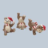 1982 Fitz and Floyd Christmas Bear Set Of Three Figurines