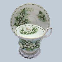 Vintage Porcelain Royal Albert Month Of May Lilies Of The Valleys Cup And Saucer Set