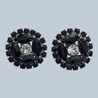 Vintage Quality Weiss Black and Clear Rhinestones Clip On Earrings