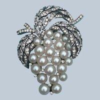 Vintage Crown Trifari Silvertone Grape Faux Pearl and Rhinestones Pin