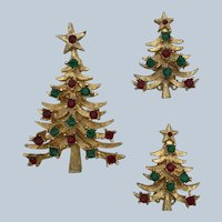 Vintage Mylu Christmas Tree Pin and Clip-On Earrings