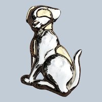 Vintage LC Liz Claiborne Two Tone Figural Metal Dalmatian Dog Pin